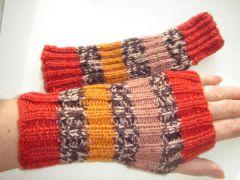 mitenki zrobione na drutach