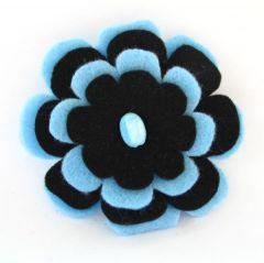 braoszka kwiat z filcu niebieska
