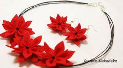 naszyjnik kolczyki czerwone kwiaty z filcu