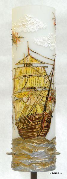 Stary �aglowiec - lampa recznie zdobiona