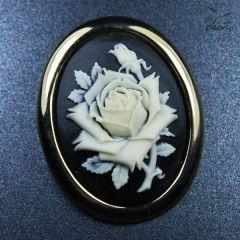 broszka kamea roze
