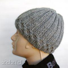 szara czapka na drutach m�ska