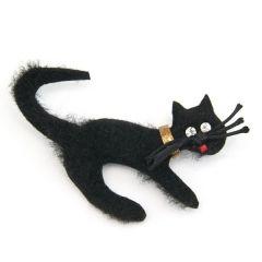 broszka czarny kot