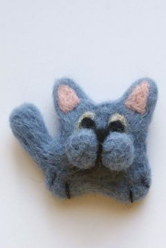 broszka filcowana na sucho kot