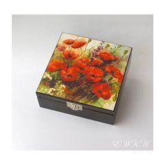 szkatulka z makami malowana