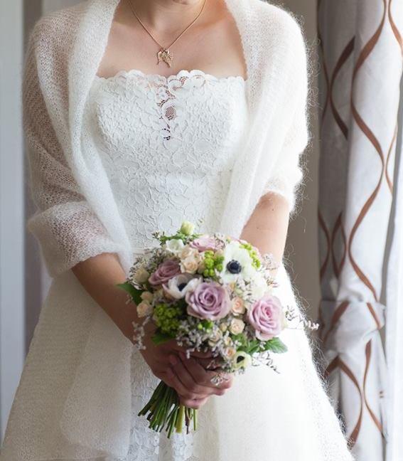 Bardzo dobryFantastyczny Swetry, szale, etole do sukni ślubnej -ręcznie robione PN03