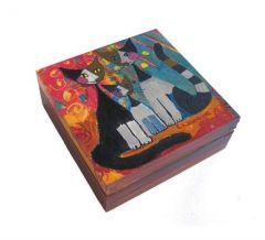 szkatu�ka z kotami malowana